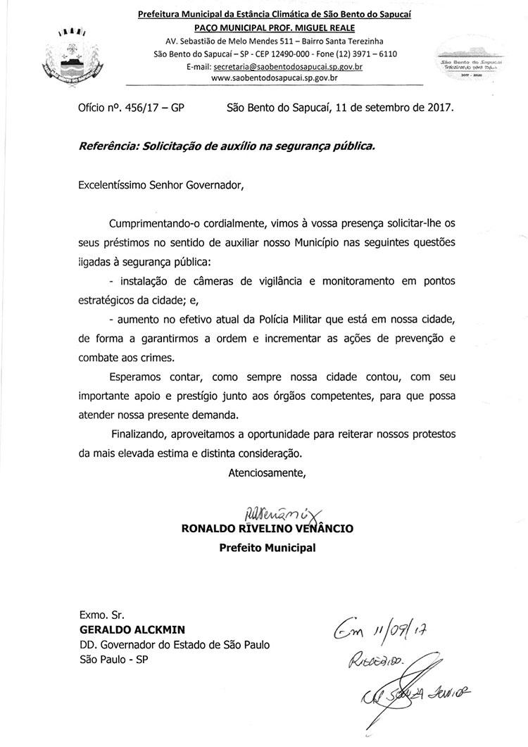 Ofício enviado ao Governador solicitando auxílio na Segurança Pública Municipal
