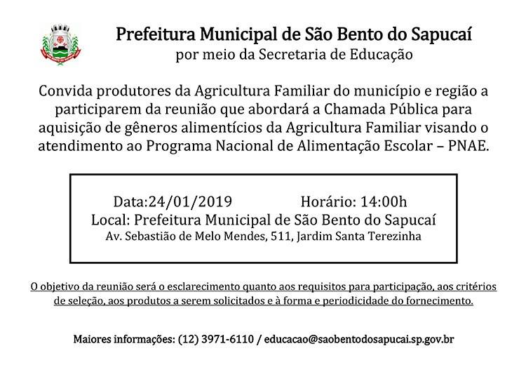 Chamada Pública para aquisição de gêneros alimentícios da Agricultura Familiar