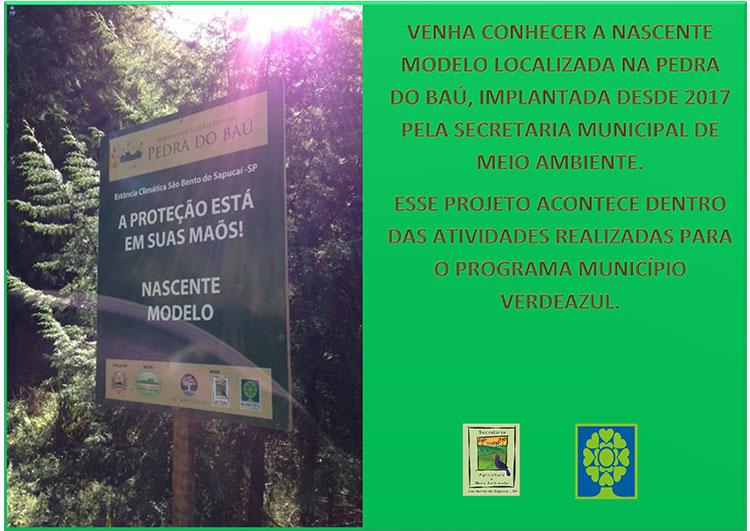 Secretaria Municipal de Meio Ambiente convida os munícipes a conhecer o Projeto de Nascente Modelo